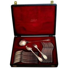 Puiforcat French Sterling Silver Dinner Flatware Set 25 Pc, Original Box, Iris