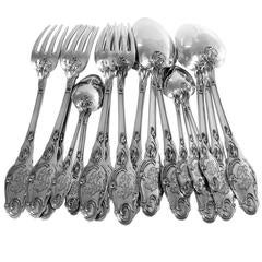 Lapparra Fabulous French Sterling Silver Dinner Flatware Set 18 Pieces Poppies