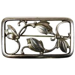 Georg Jensen Mid-Century Art Nouveau Floral Sterling Silver Brooch