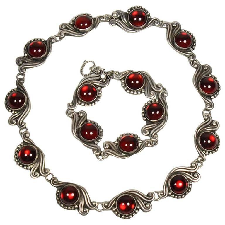 Gerardo Lopez Mexican Taxco Red Gl And Silver Necklace Bracelet Set For