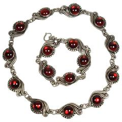 Gerardo Lopez Mexican Taxco Red Glass and Silver Necklace and Bracelet Set