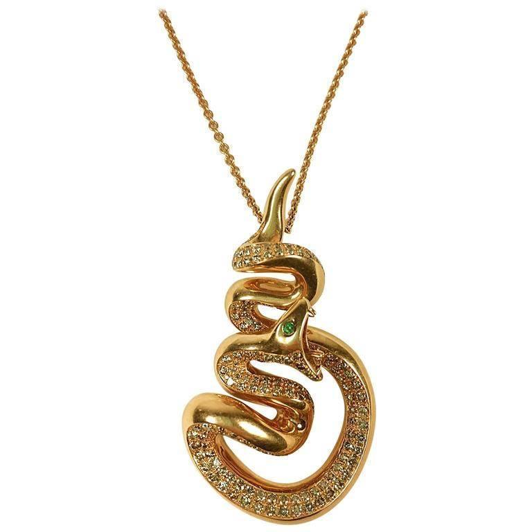 Stenzhorn emerald diamond rose gold snake pendant necklace for sale stenzhorn emerald diamond rose gold snake pendant necklace for sale aloadofball Images