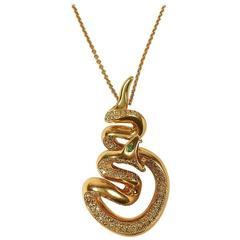 Stenzhorn Emerald Diamond Rose Gold Snake Pendant Necklace
