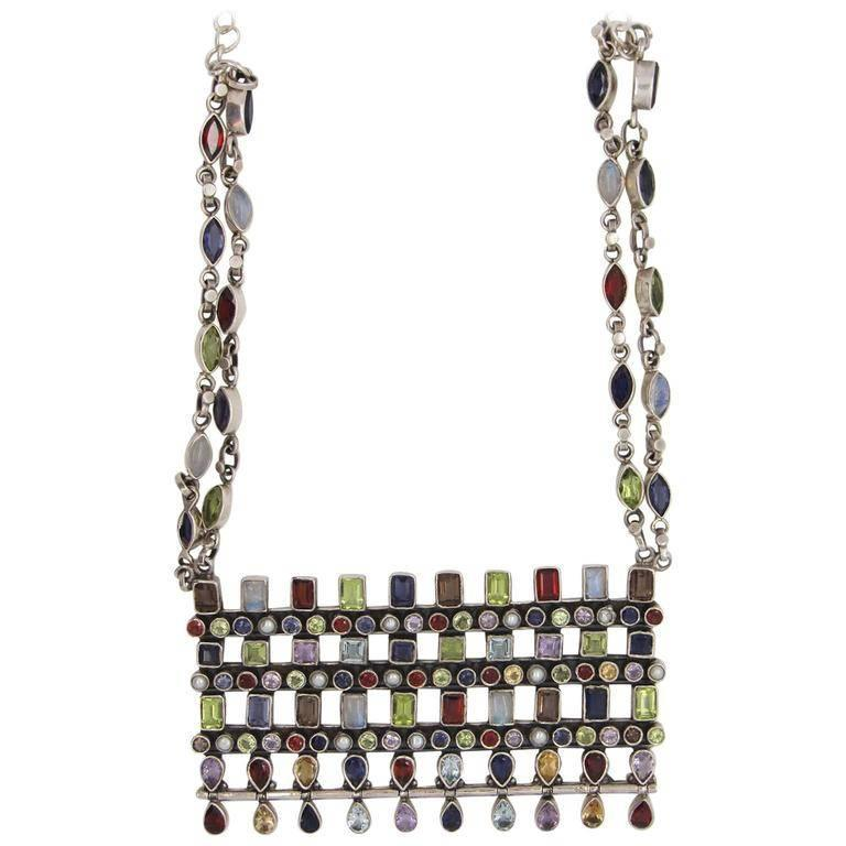 Mid-Century Modern Silver and Multi-Colored Gemstone Necklace