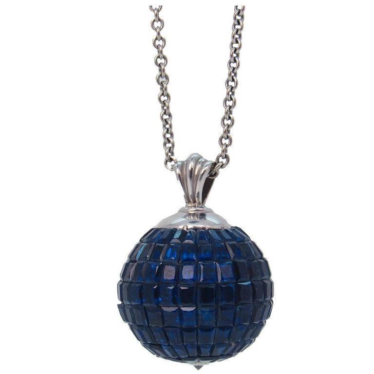 Invisibly set sapphire diamond globe form pendant necklace for sale sapphire diamond and 14 karat white gold globe form pendant necklace elegant globe aloadofball Choice Image