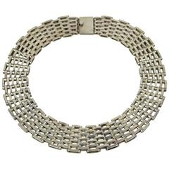 Substantial Taxco Mexican Silver Basketweave Collar Necklace