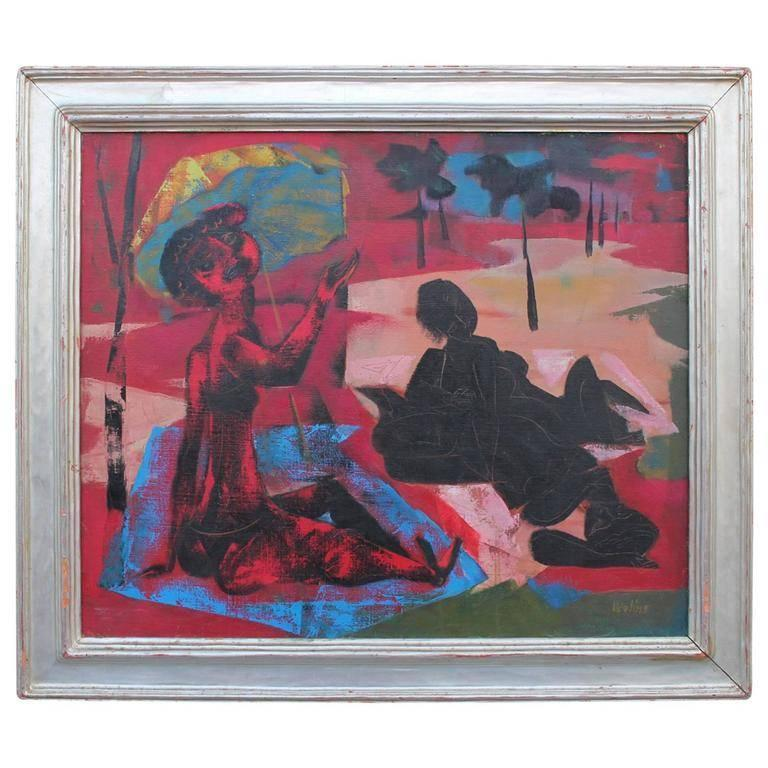 Great Joseph Wolins painting in a silver leaf frame. The painting is in excellent condition and the frame has some normal wear.   Joseph Wolins was born in Atlantic City, New Jersey in 1915. He studied at the National Academy of Design from 1935 to