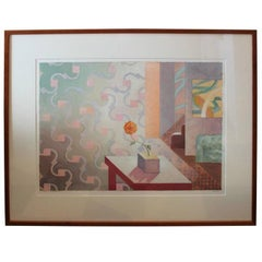 """2 Interiors with Flowers #2""- Surreal Architectural Abstract Pastel Painting"