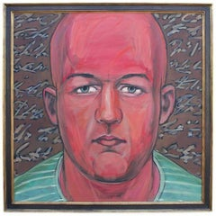 Abstract Portrait of a Man in Green Striped Shirt with Red Skin