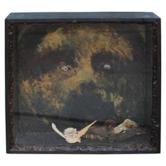 Bob Camblin Mixed-Media Abstract Shadowbox with Bear