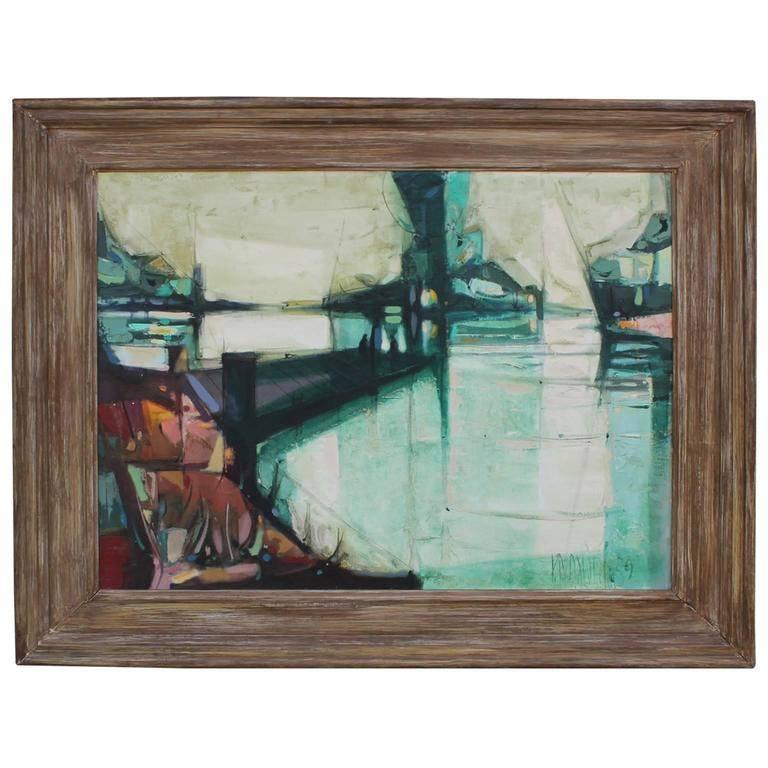 Paul Maxwell Abstract Painting - Geometric Early Abstract Landscape Painting