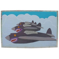 Abstracted Silk Applique Modern Tapestry in Lucite Frame Flying Tiger Jets