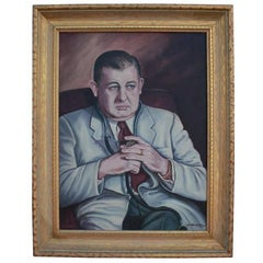 Wonderful Portrait of a Doctor Smoking a Cigar Painting