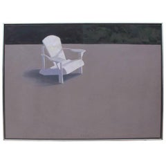 "Striking Oil on Canvas Painting by Tom Berg ""Absent Adirondack"""