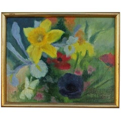 Small Abstract Floral Oil Painting