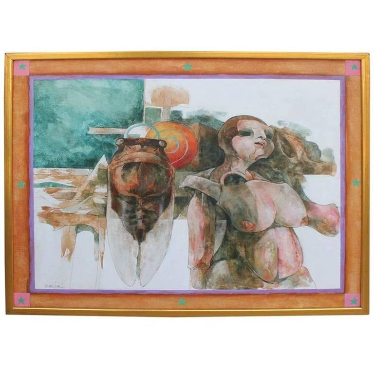 Surreal abstract oil painting by Bob Camblin, circa 1972 of a locust and a nude woman. Framed in simple gold frame. Signed and titled by artist.  Artist Biography: Born in Oklahoma in 1928, Bob Camblin studied painting at the Kansas City Art