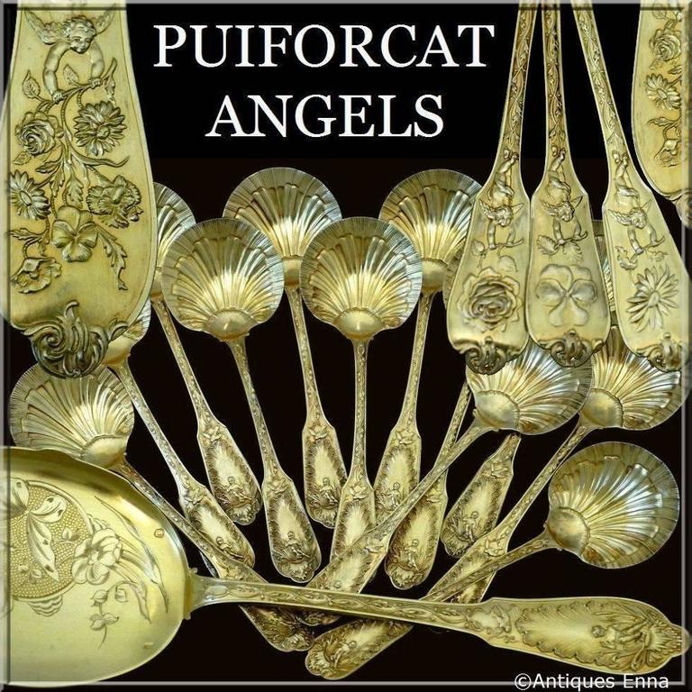 A set of truly exceptional quality, for the richness of his decoration, not only for these spoons shaped shells but also for the sculpting and vermeil which is itself quite rare. Model called Flowers in the catalog of the Maison Puiforcat.   This