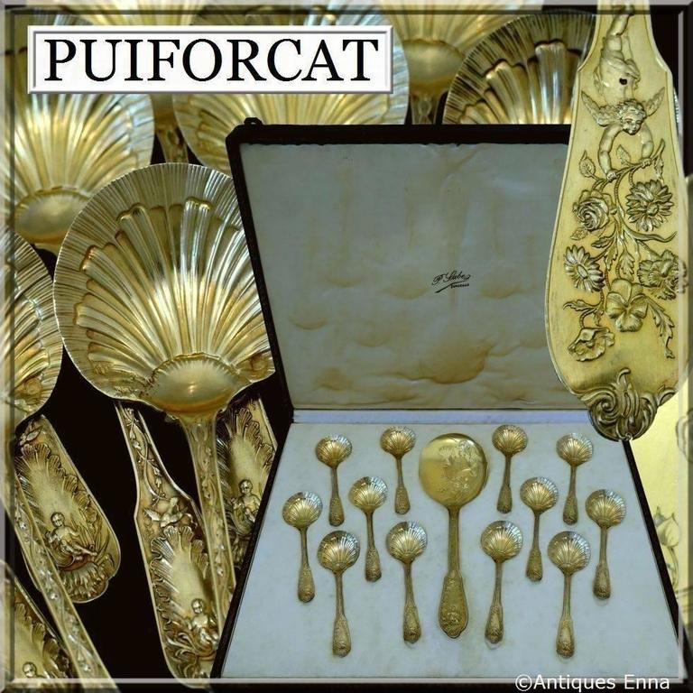 Puiforcat Masterpiece French Sterling Silver 18k Gold Ice cream Set Box Putti For Sale 2