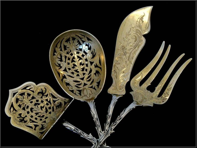 Ernie French All Sterling Silver 18K Gold Dessert Hors D'oeuvre Set with Box For Sale 4