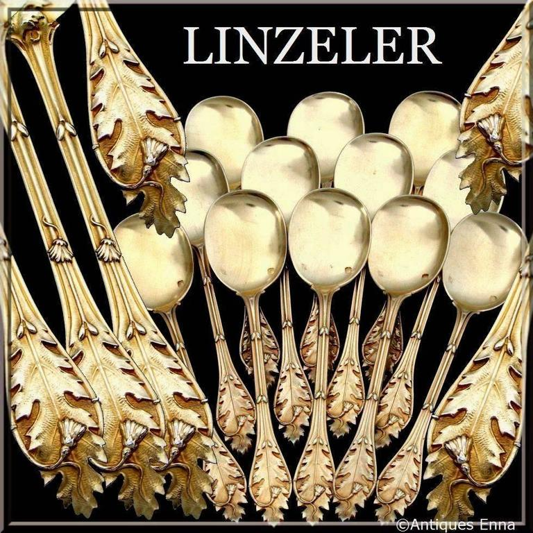 Linzeler masterpiece French all sterling silver vermeil ice cream spoons set 12 pieces wild flowers  Head of Minerve 1 st titre for 950/1000 French sterling silver vermeil guarantee. The quality of the gold used to recover sterling silver is a