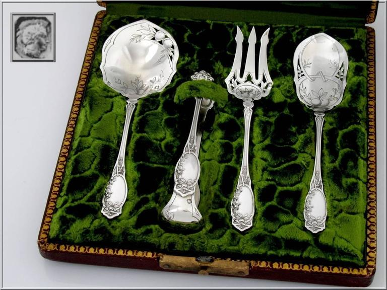 Late 19th Century Coignet French All Sterling Silver Dessert Hors D'oeuvre Set Box Apples For Sale