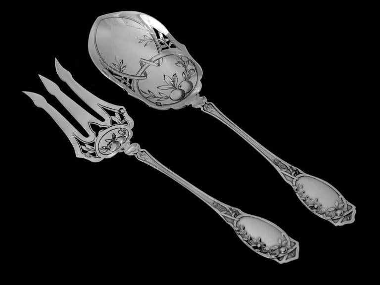 Coignet French All Sterling Silver Dessert Hors D'oeuvre Set Box Apples For Sale 1