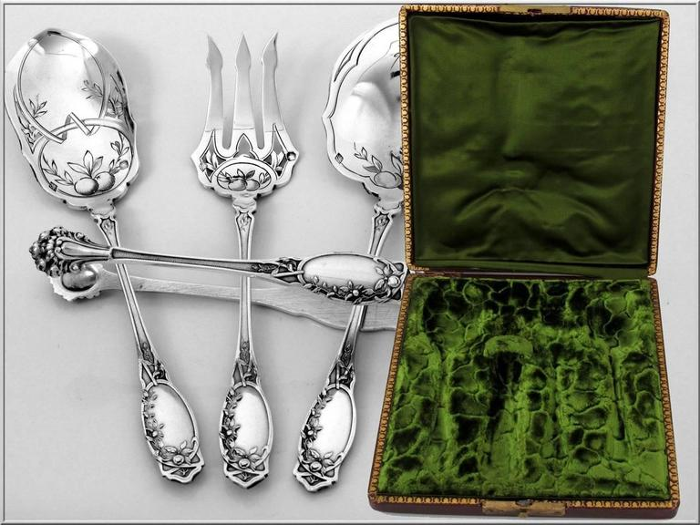 Coignet French All Sterling Silver Dessert Hors D'oeuvre Set Box Apples For Sale 2