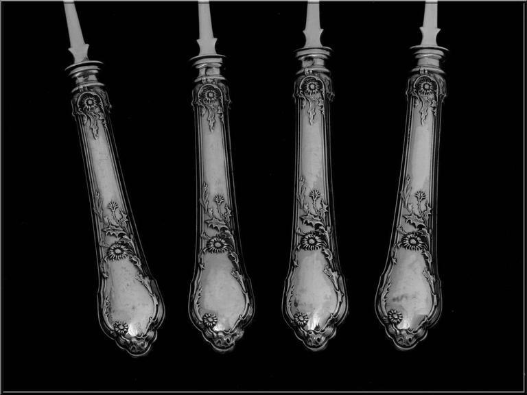 veyrat french sterling silver dessert hors d 39 oeuvre four piece set art nouveau for sale at 1stdibs. Black Bedroom Furniture Sets. Home Design Ideas