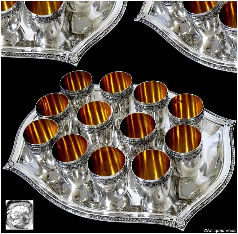 French Sterling Silver 18-Karat Gold Liquor Cups, Original Tray and Box Empire In Excellent Condition For Sale In TRIAIZE, PAYS DE LOIRE