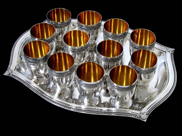 French Sterling Silver 18-Karat Gold Liquor Cups, Original Tray and Box Empire For Sale 1