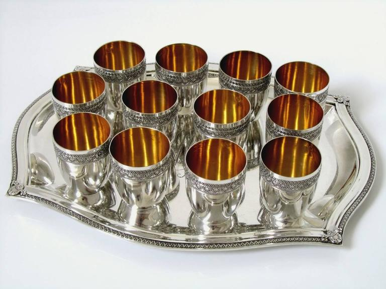 French Sterling Silver 18-Karat Gold Liquor Cups, Original Tray and Box Empire For Sale 2