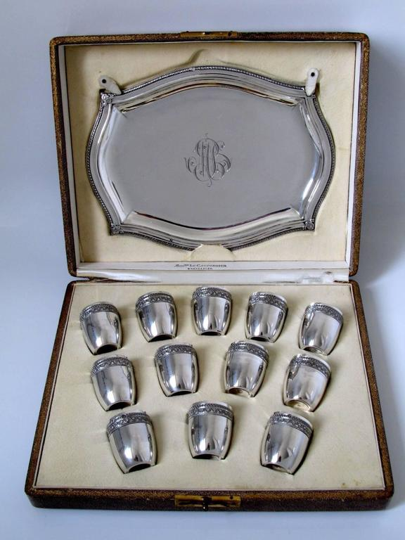 French Sterling Silver 18-Karat Gold Liquor Cups, Original Tray and Box Empire For Sale 6