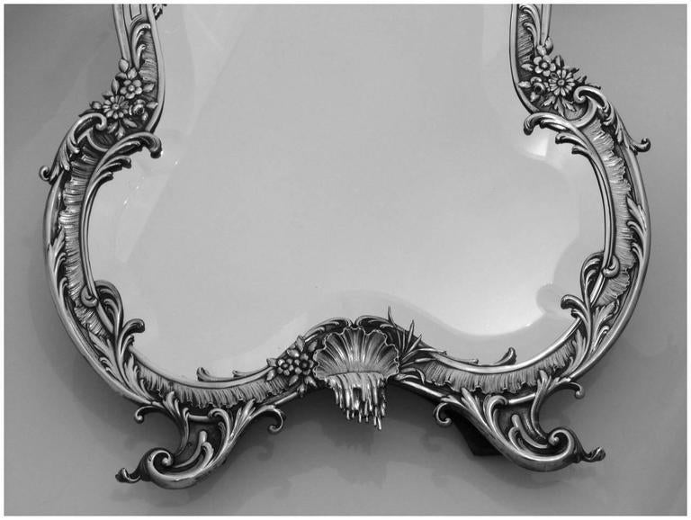 Imposing French Sterling Silver Rococo Vanity Dressing