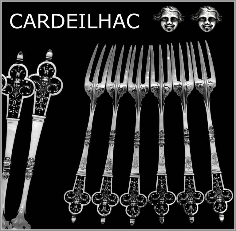 Cardeilhac masterpiece French sterling silver dinner forks set six pieces Renaissance.  Head of Minerve 1st titre for 950/1000 French sterling silver guarantee.  Extremely rare Louis XIII trilobé pattern. The forks are pierced and engraved with