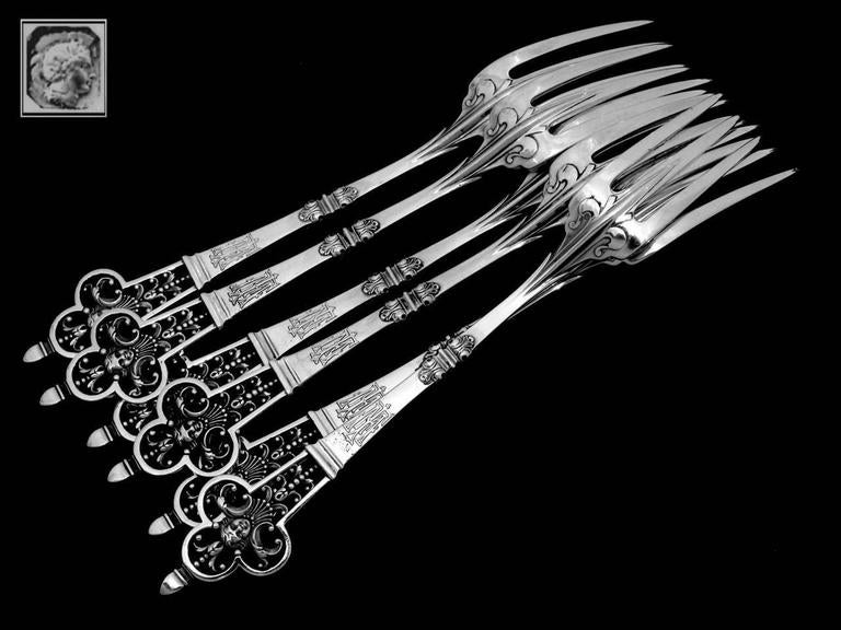 Cardeilhac Masterpiece French Sterling Silver Dinner Forks Set Renaissance For Sale 2