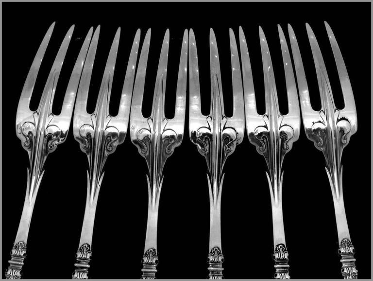 Cardeilhac Masterpiece French Sterling Silver Dinner Forks Set Renaissance For Sale 5
