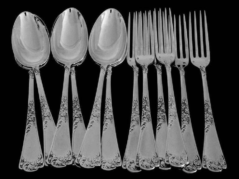 Puiforcat French Sterling Silver Dessert Entremet Flatware Set 12 Pieces Rococo For Sale 2