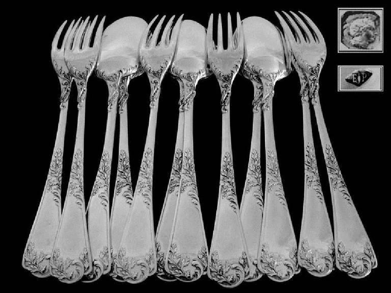 Puiforcat French Sterling Silver Dessert Entremet Flatware Set 12 Pieces Rococo For Sale 4