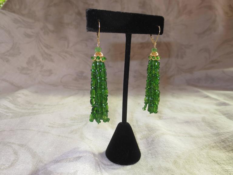 Marina J. Tsavorite Gold Tassel Earrings 2
