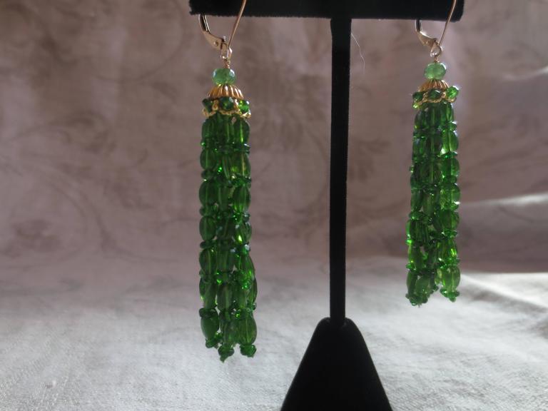 Marina J. Tsavorite Gold Tassel Earrings 3