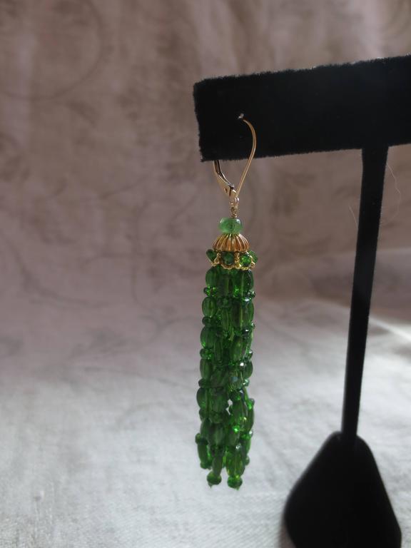 Marina J. Tsavorite Gold Tassel Earrings 4