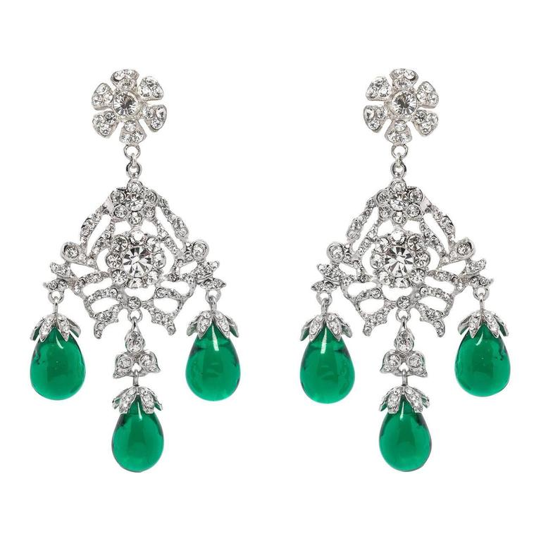 Huge Glamorous Georgian Style Faux Diamond Emerald Drop