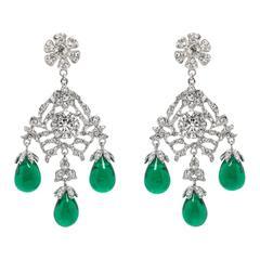 Huge Glamorous Georgian Style Faux Diamond Emerald Drop Chandeliers.