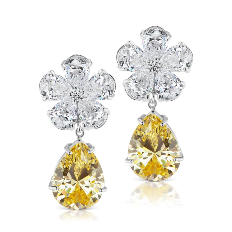 Magnificent Costume Jewelry Diamond Flower Top Yellow Drop Earclips For