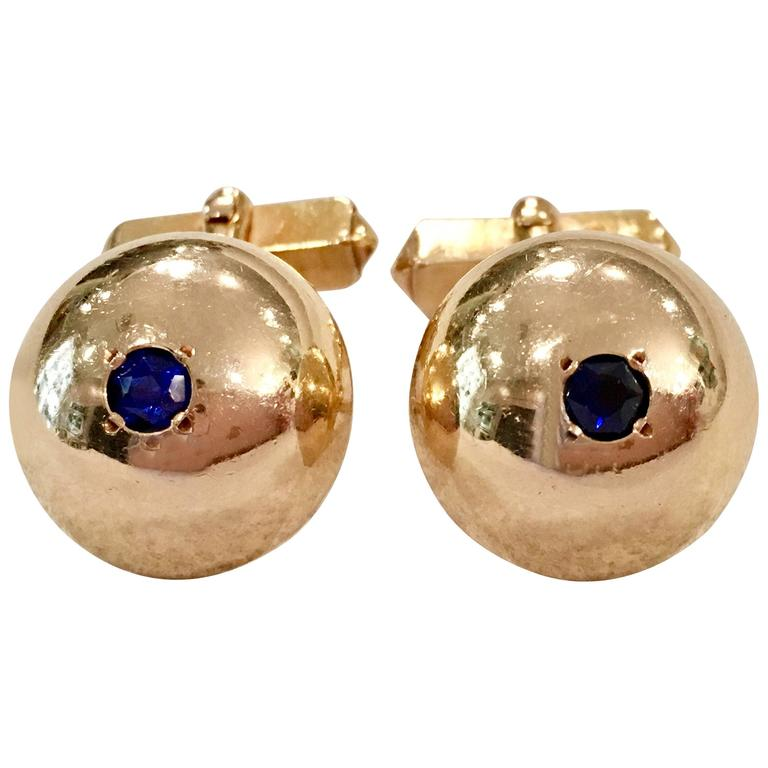 1950'S 12-Karat Gold Filled & Sapphire Blue Glass Cuff Links By, Swank For Sale