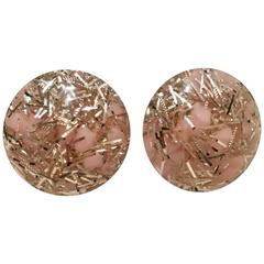 Vintage Lucite Pink and Silver Confetti Earrings