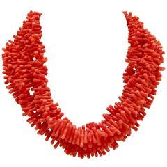 Vintage Orange Branch Coral Opera Length Necklace