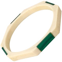 20th Century Malachite & Bone Geometric Bangle Bracelet