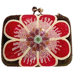 Judith Leiber Swarofski Crystal Couture Floral Minaudiere Box Evening Bag