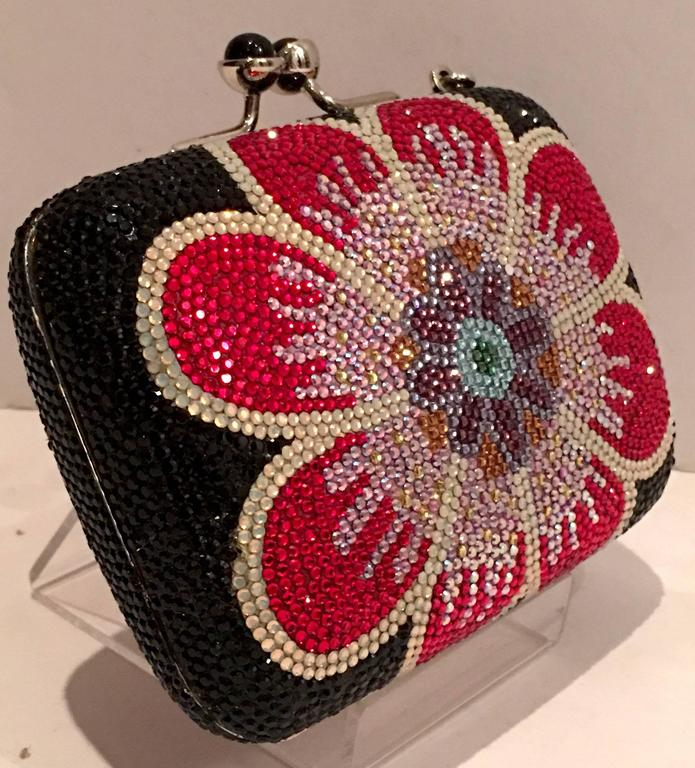Judith Leiber Swarofski Crystal Couture Floral Minaudiere Box Evening Bag 3
